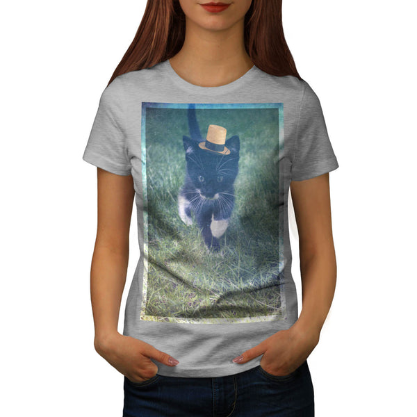 Curious Kitty Walk Womens T-Shirt