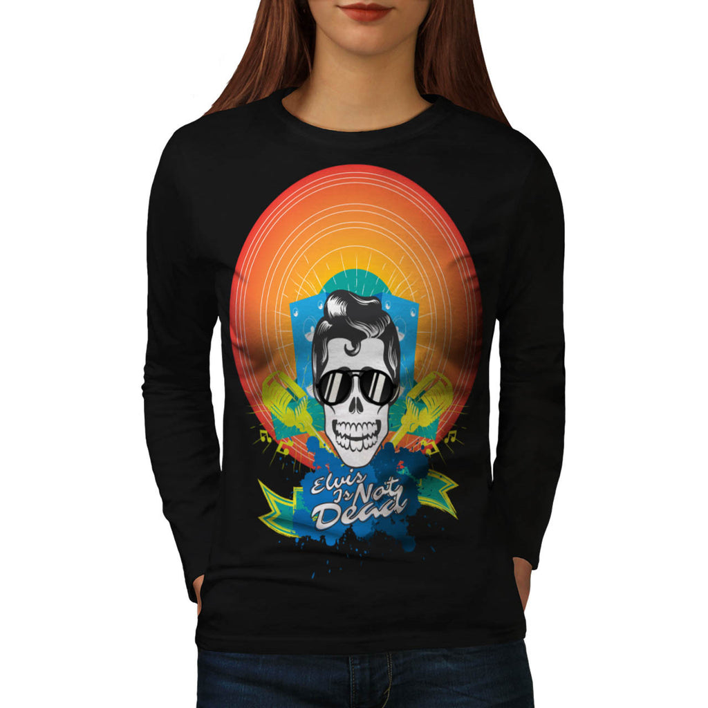 Music Skull Presley Womens Long Sleeve T-Shirt
