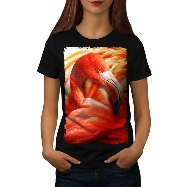 Flamingo Bird Face Womens T-Shirt
