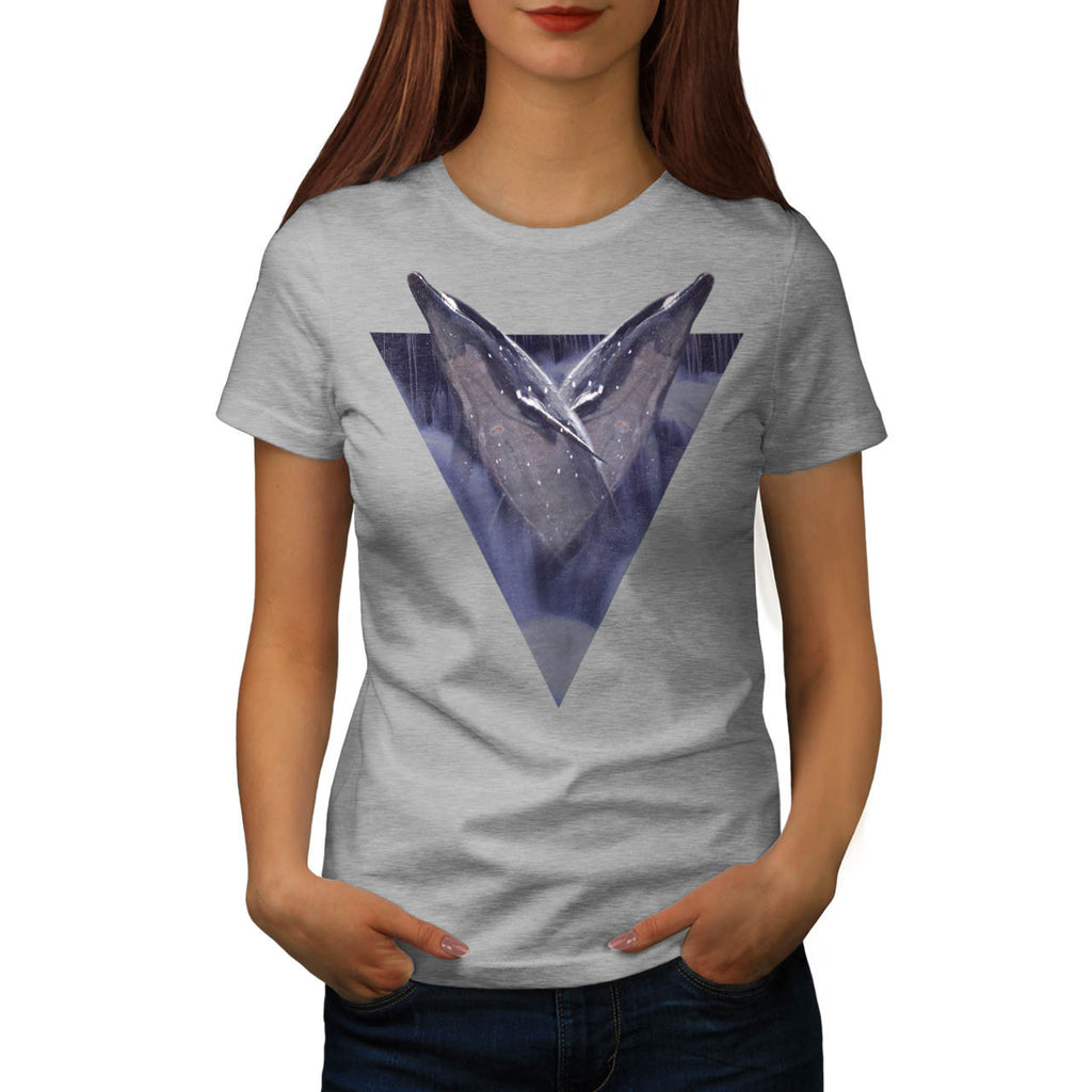 Two Dolphin Triangle Womens T-Shirt