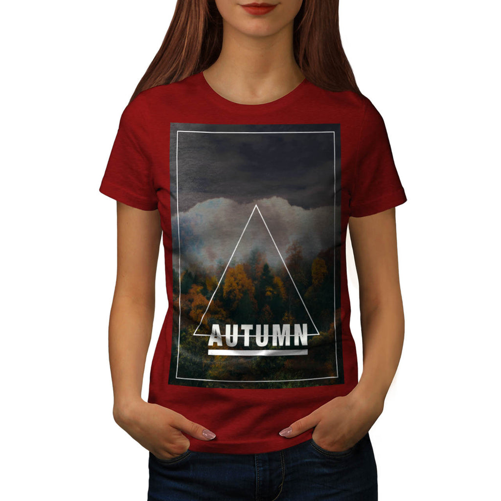 Autumn Tree Triangle Womens T-Shirt