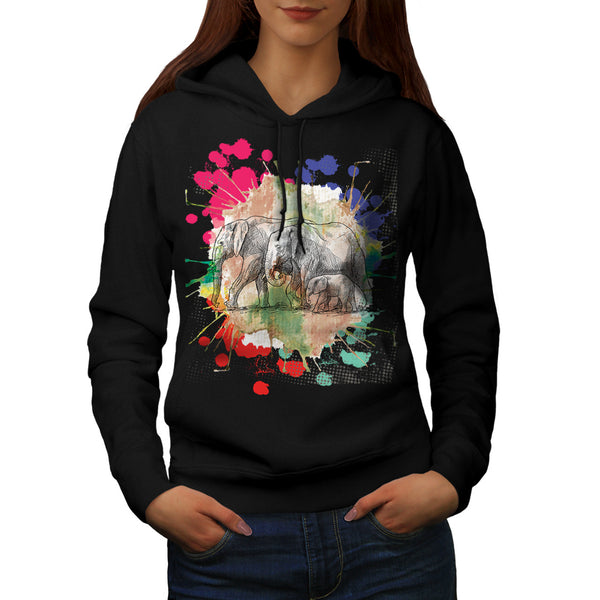 Elephant Family Walk Womens Hoodie