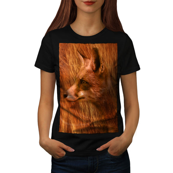 Flaming Red Fox Face Womens T-Shirt