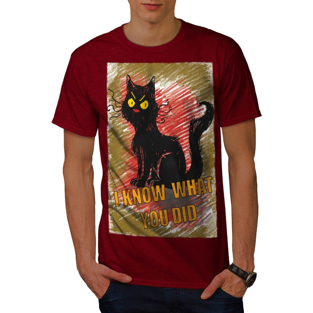 Angry Black Cat Meow Mens T-Shirt