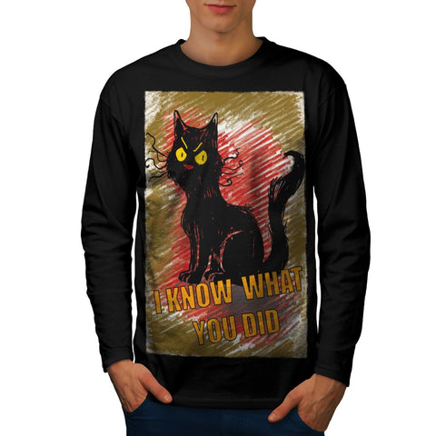 Angry Black Cat Meow Mens Long Sleeve T-Shirt