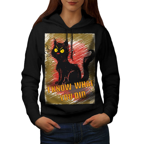 Angry Black Cat Meow Womens Hoodie