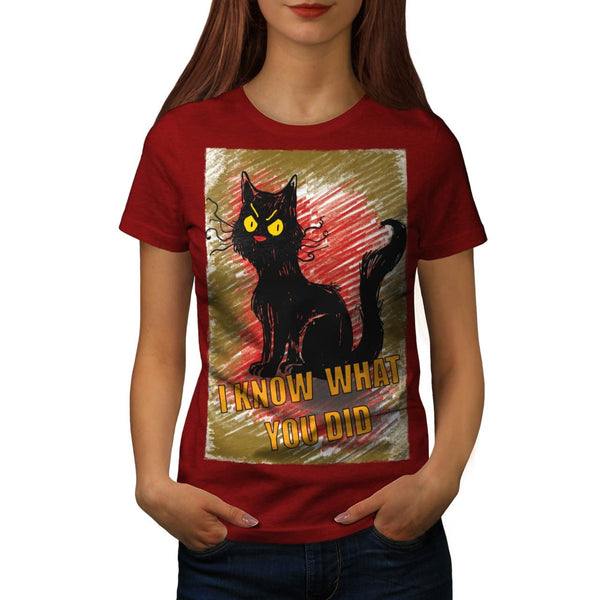 Angry Black Cat Meow Womens T-Shirt