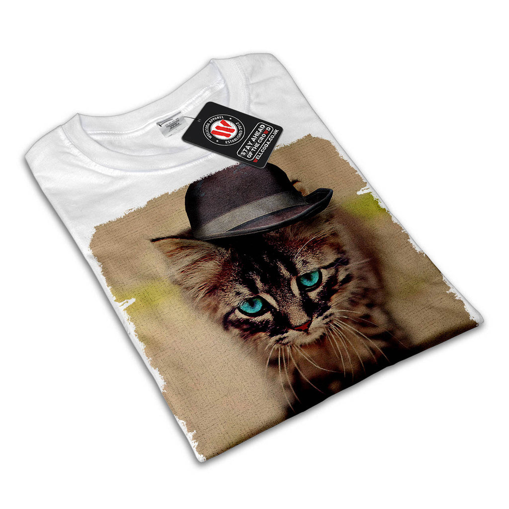 Cute Kitten Head Hat Womens T-Shirt
