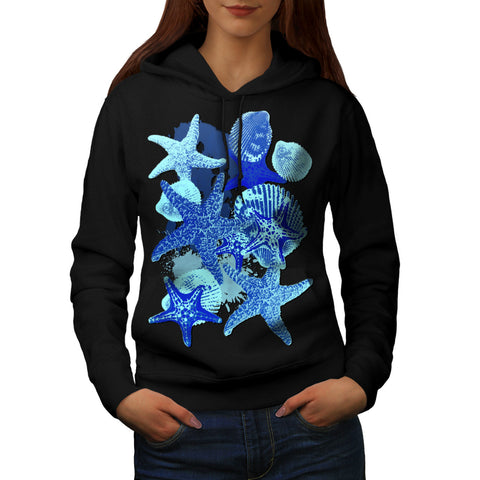 Blue Seashell Star Womens Hoodie