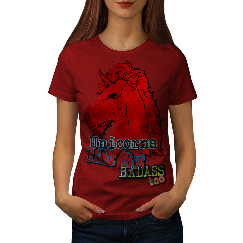 Red Badass Unicorn Womens T-Shirt