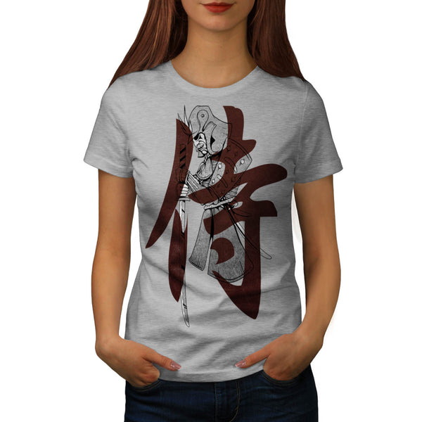 Moustache Samurai Womens T-Shirt