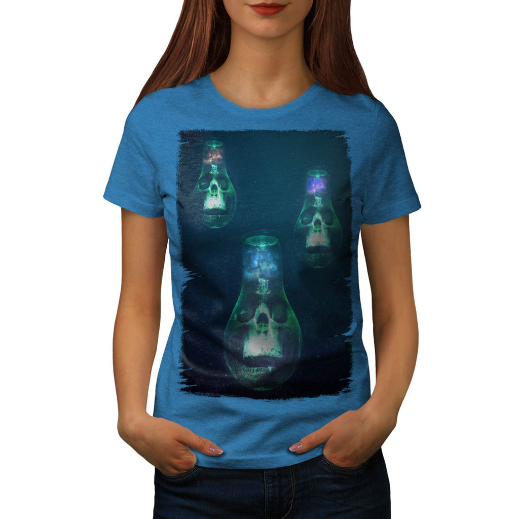 Skull Head Glow Art Womens T-Shirt