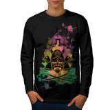 Japanese Sword Mask Mens Long Sleeve T-Shirt