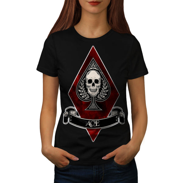 Ace Card Skeleton Womens T-Shirt