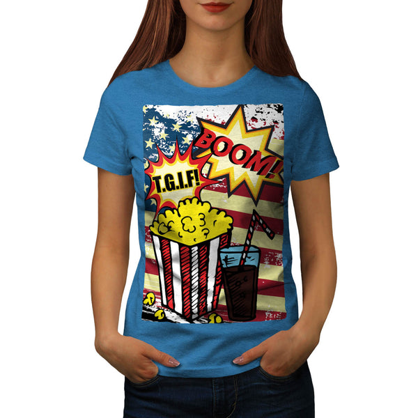 TGIF Popcorn Comic Womens T-Shirt