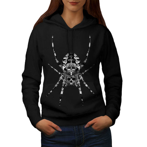 Spider Skull Face Womens Hoodie