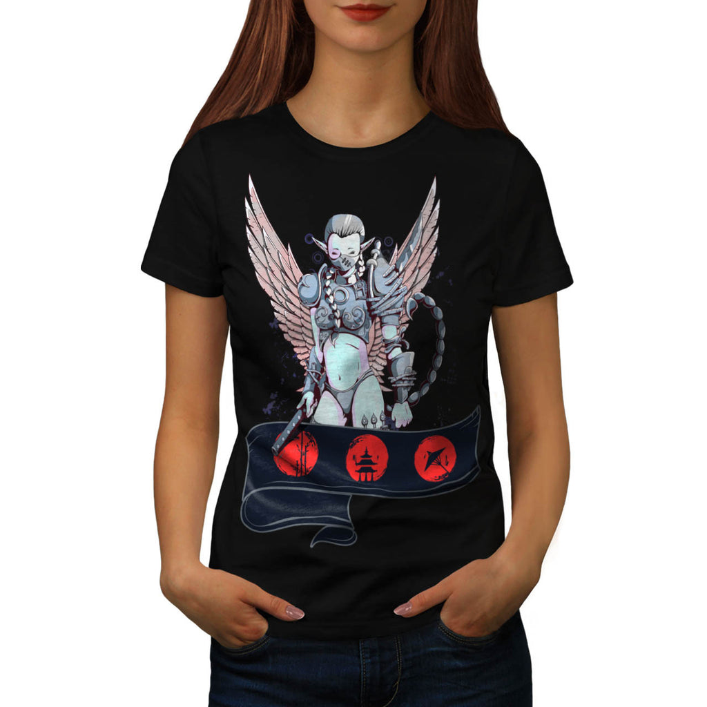Angelic Lady Warrior Womens T-Shirt
