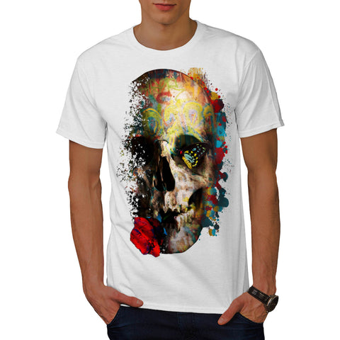 Skull Sugar Rose Art Mens T-Shirt