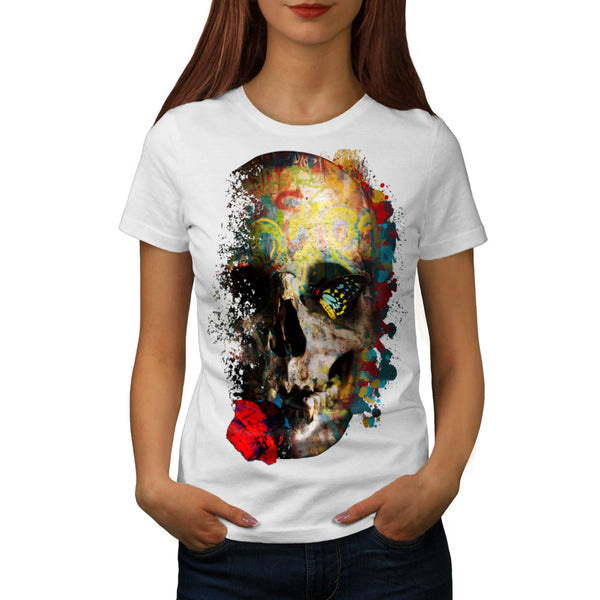 Skull Sugar Rose Art Womens T-Shirt