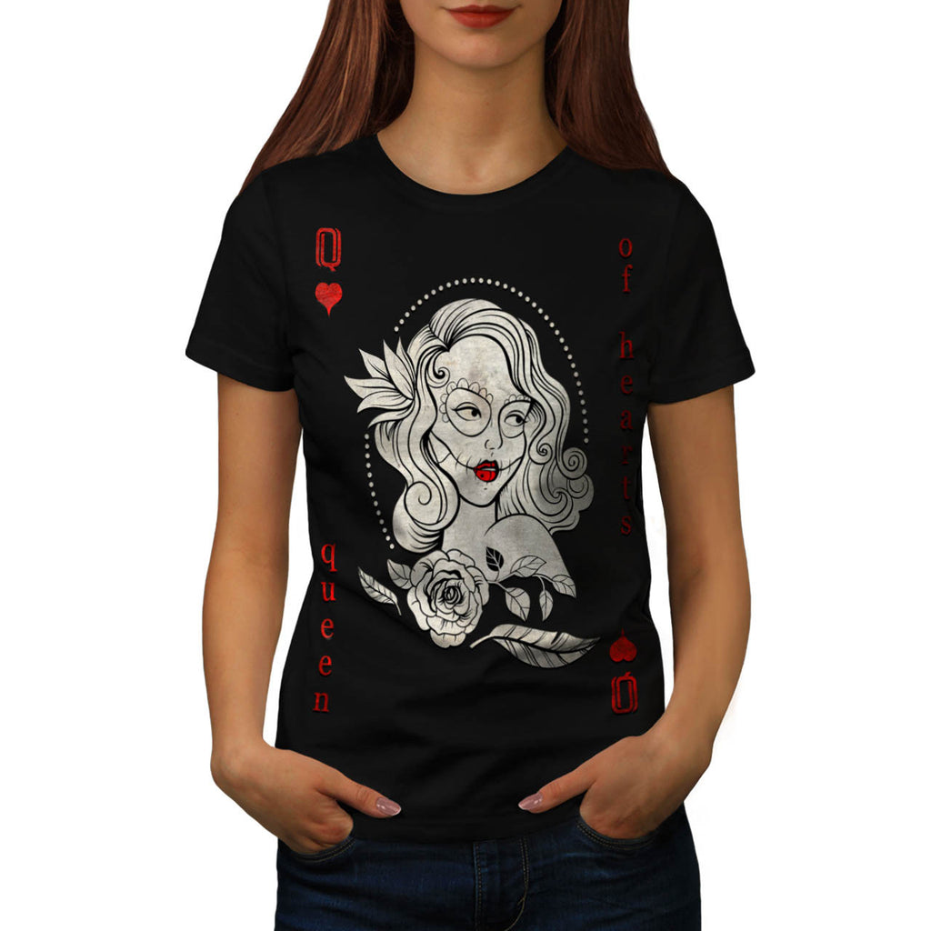 Queen Of Heart Card Womens T-Shirt