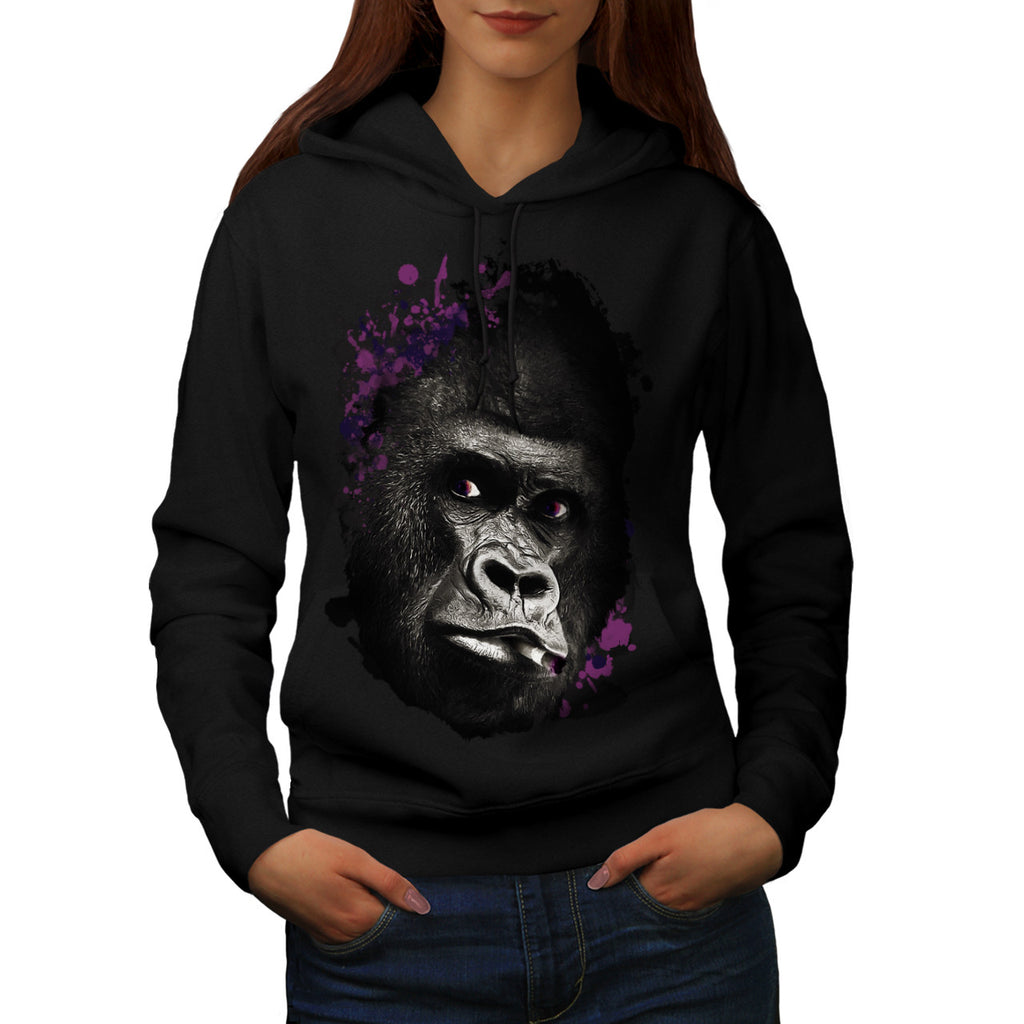 Smoking Gorilla Face Womens Hoodie