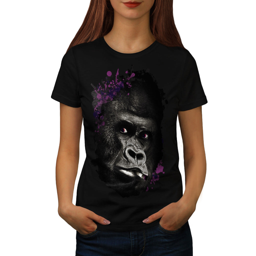 Smoking Gorilla Face Womens T-Shirt