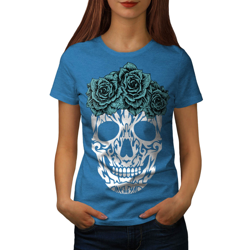Skull Rose Tribal Womens T-Shirt