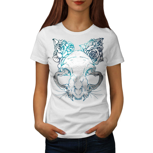 SKull Rose Beast Art Womens T-Shirt