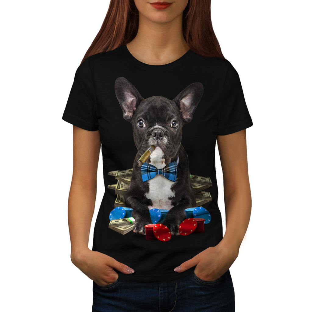Pug Dog Poker Player Womens T-Shirt