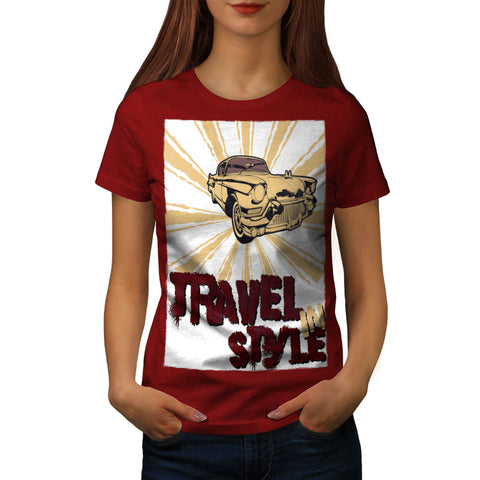 Travel In Style Car Womens T-Shirt