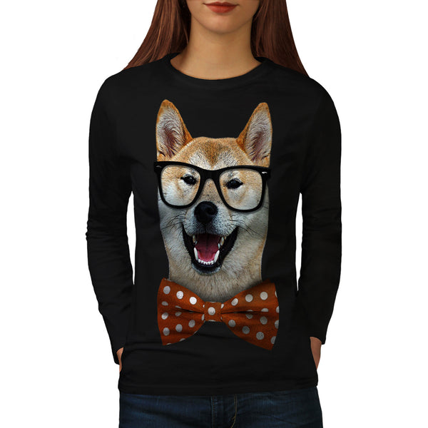 Smart Shiba Inu Dog Womens Long Sleeve T-Shirt
