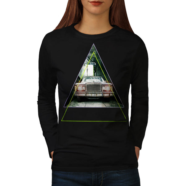 Vintage Triangle Car Womens Long Sleeve T-Shirt