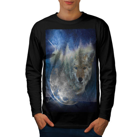 Animal Wolf Galaxy Mens Long Sleeve T-Shirt