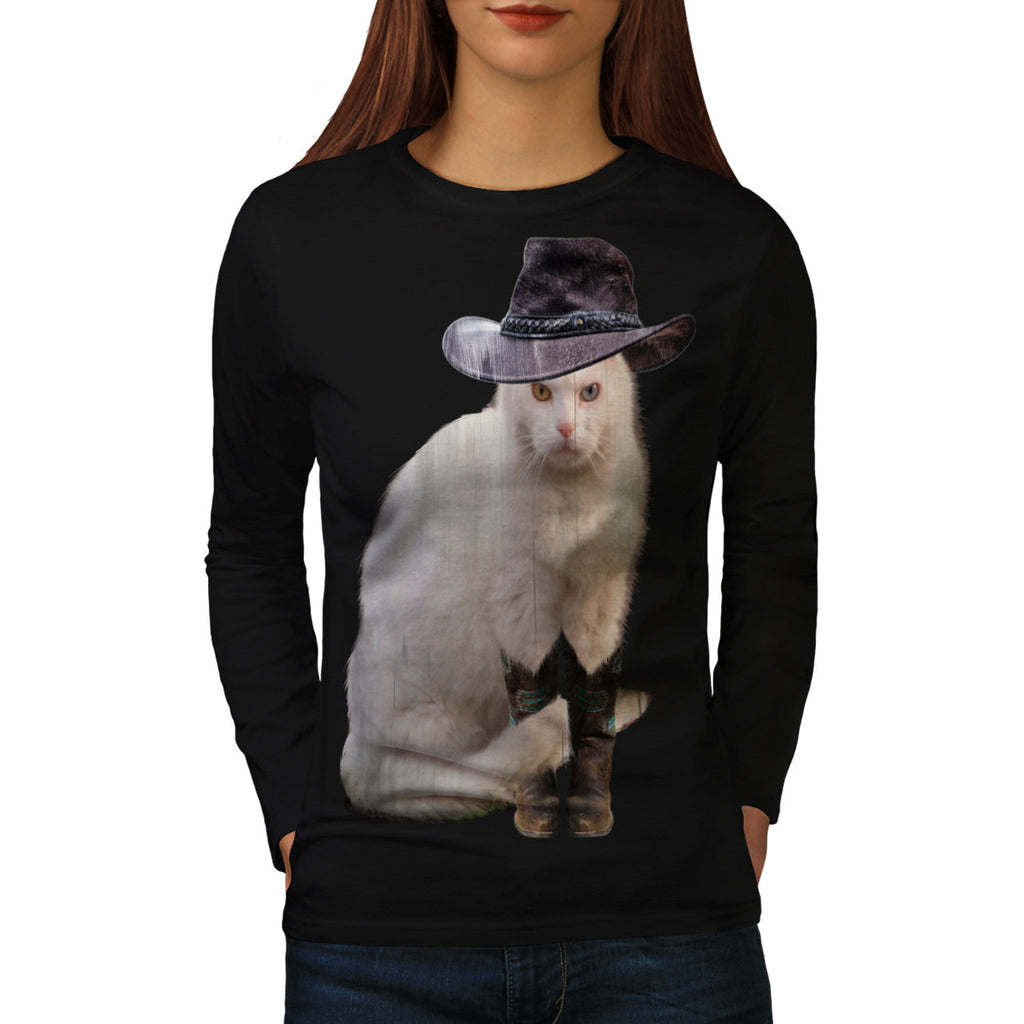 Cowboy Boot Kitty Womens Long Sleeve T-Shirt