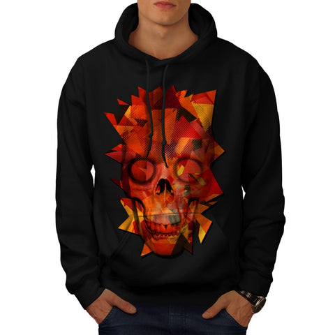 Abstract Flame Skull Mens Hoodie