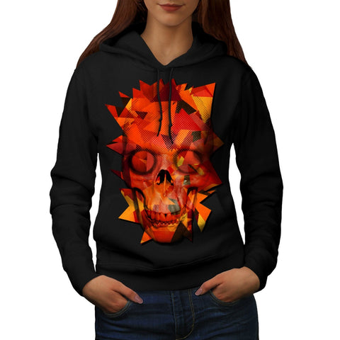 Abstract Flame Skull Womens Hoodie