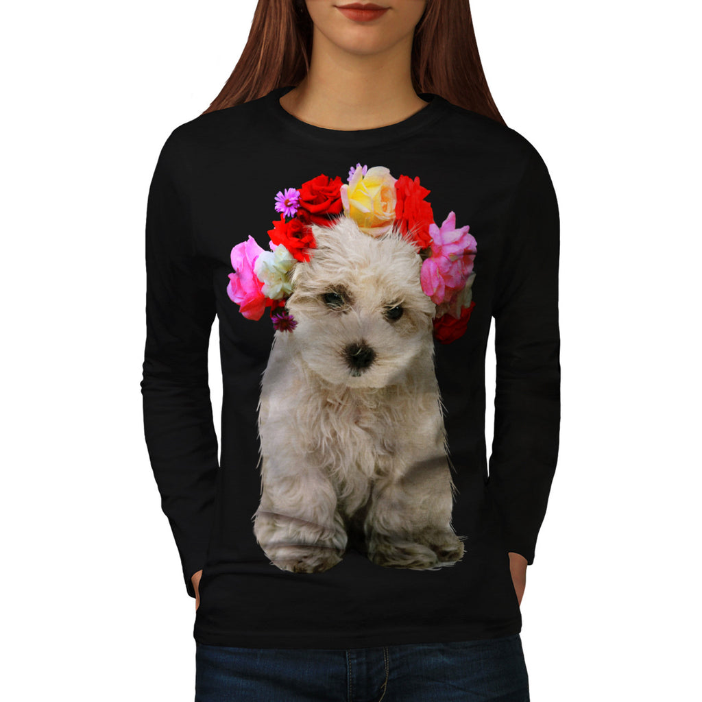 Floral Crown Puppy Womens Long Sleeve T-Shirt