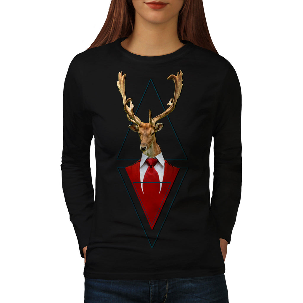 Stylish Deer Suit Womens Long Sleeve T-Shirt