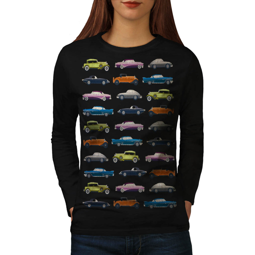 Car Nostalgia Theme Womens Long Sleeve T-Shirt