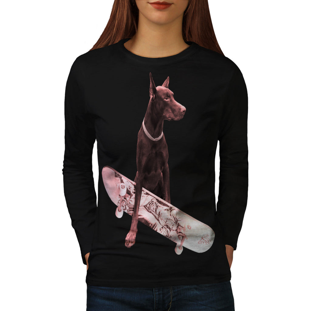 Noble Skater Doggy Womens Long Sleeve T-Shirt
