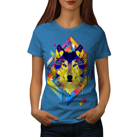 Colourful Wolf Shape Womens T-Shirt