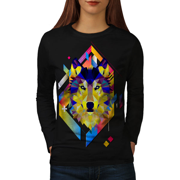 Colourful Wolf Shape Womens Long Sleeve T-Shirt