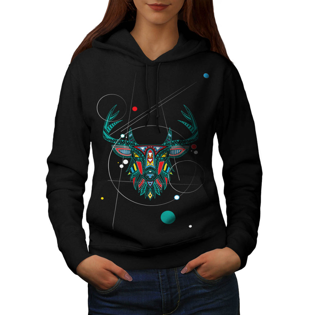 Ornament Animal Head Womens Hoodie