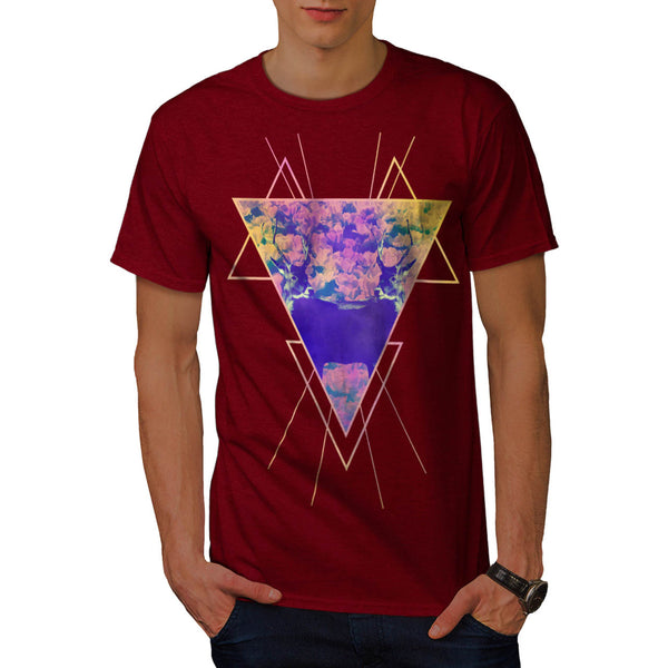 Flower Triangle Deer Mens T-Shirt