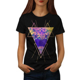 Flower Triangle Deer Womens T-Shirt