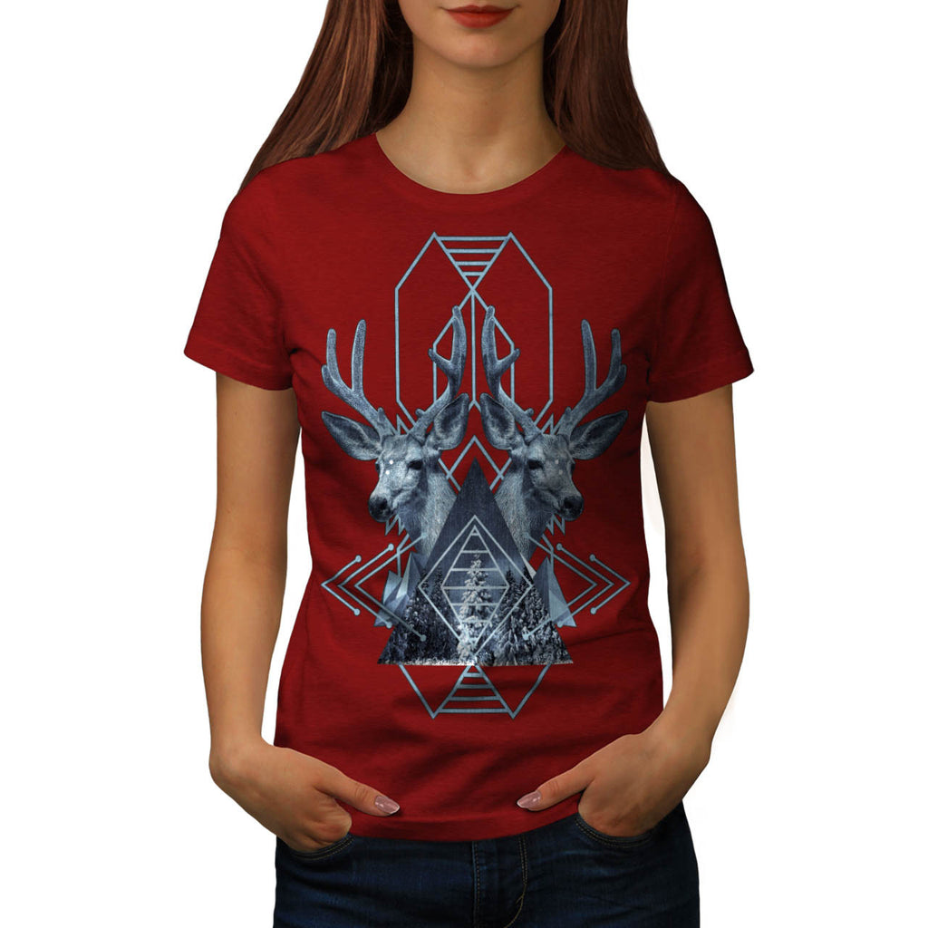 Snowy Forest Deer Womens T-Shirt