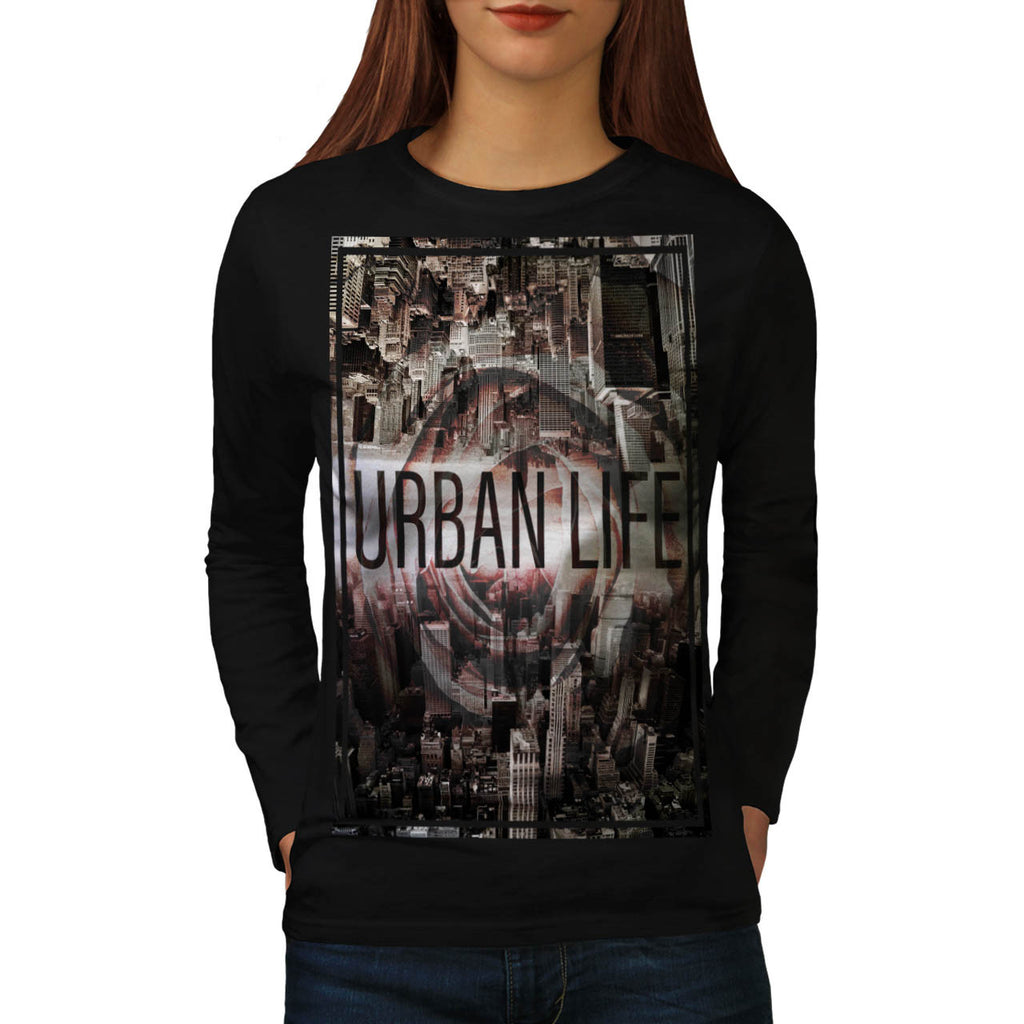 Cityscape Mirror Womens Long Sleeve T-Shirt
