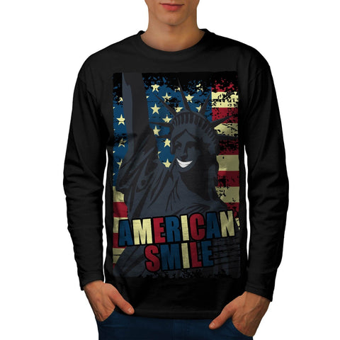 American Smile Funny Mens Long Sleeve T-Shirt