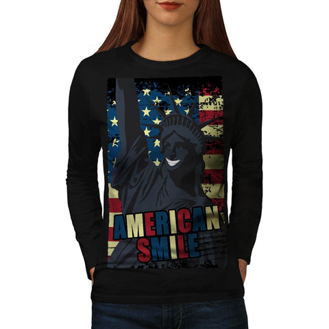 American Smile Funny Womens Long Sleeve T-Shirt
