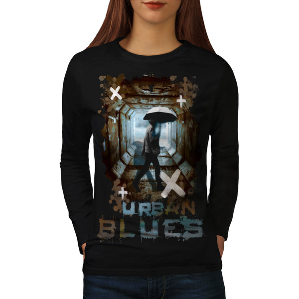 Urban Tunnel Blues Womens Long Sleeve T-Shirt